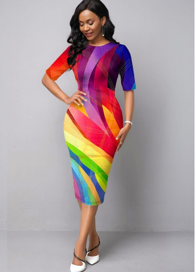 Women'S Multi Color Geometric Print Sheath Cocktail Party Dress Rainbow Printed Half Sleeve Elegant Midi Dress By Rosewe - 10