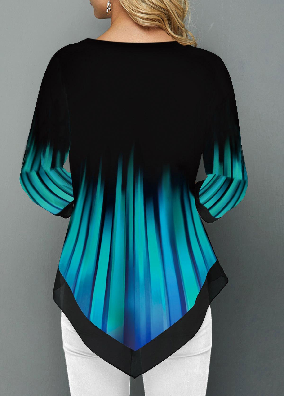 Button Detail Asymmetric Hem Split Neck T Shirt