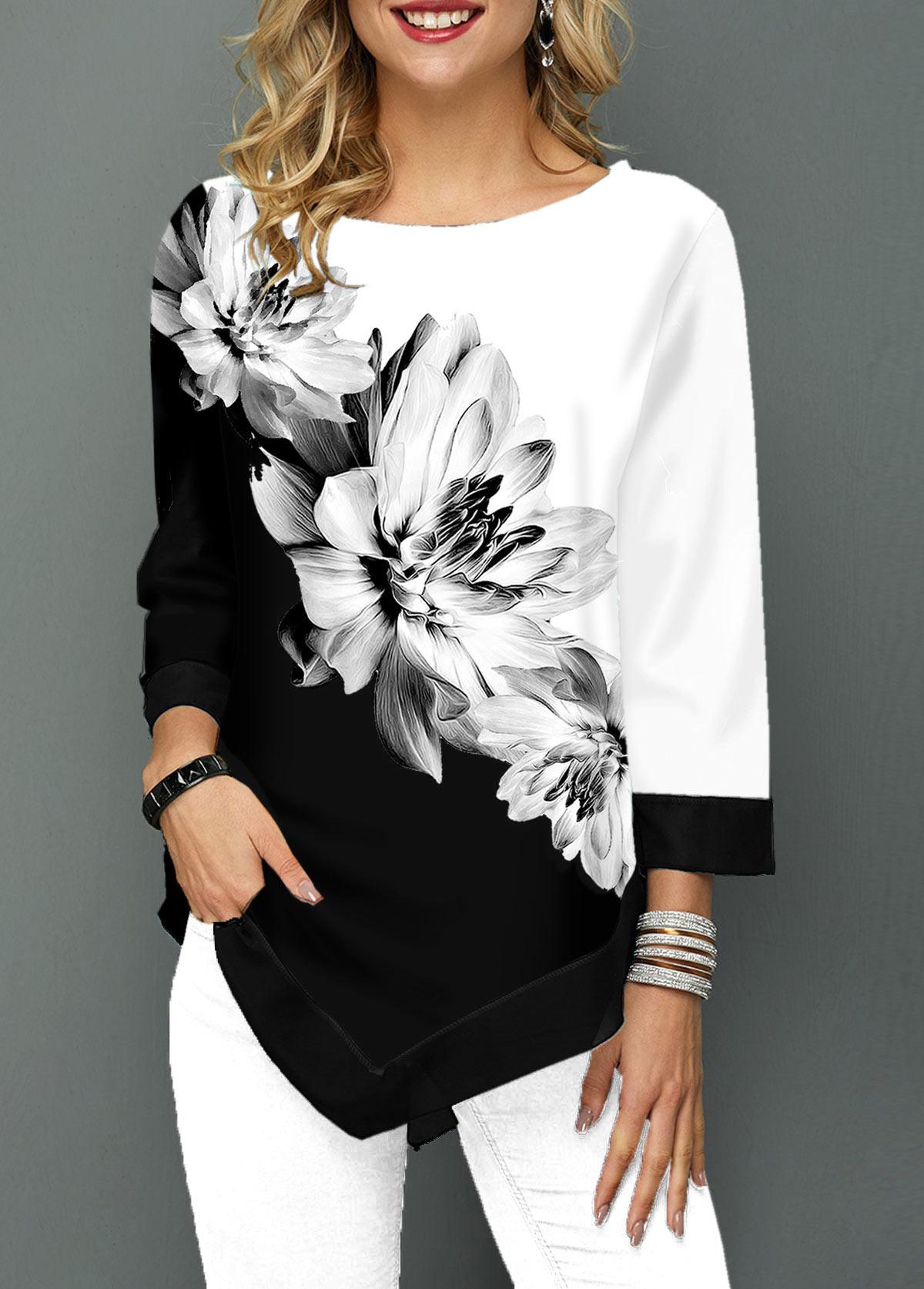 Three Quarter Sleeve Flower Print Asymmetric Hem T Shirt