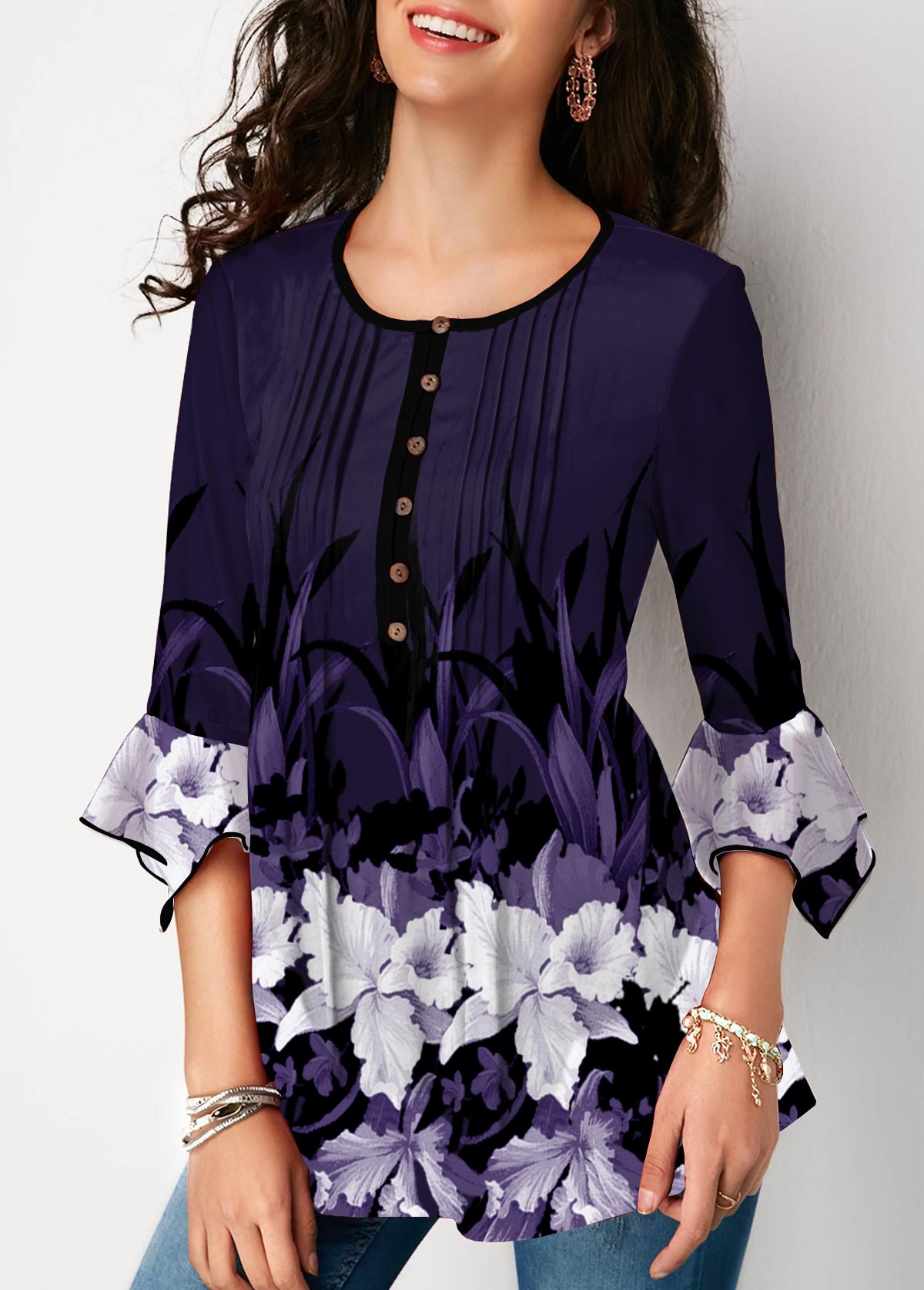 Crinkle Chest Flare Cuff Floral Print Blouse