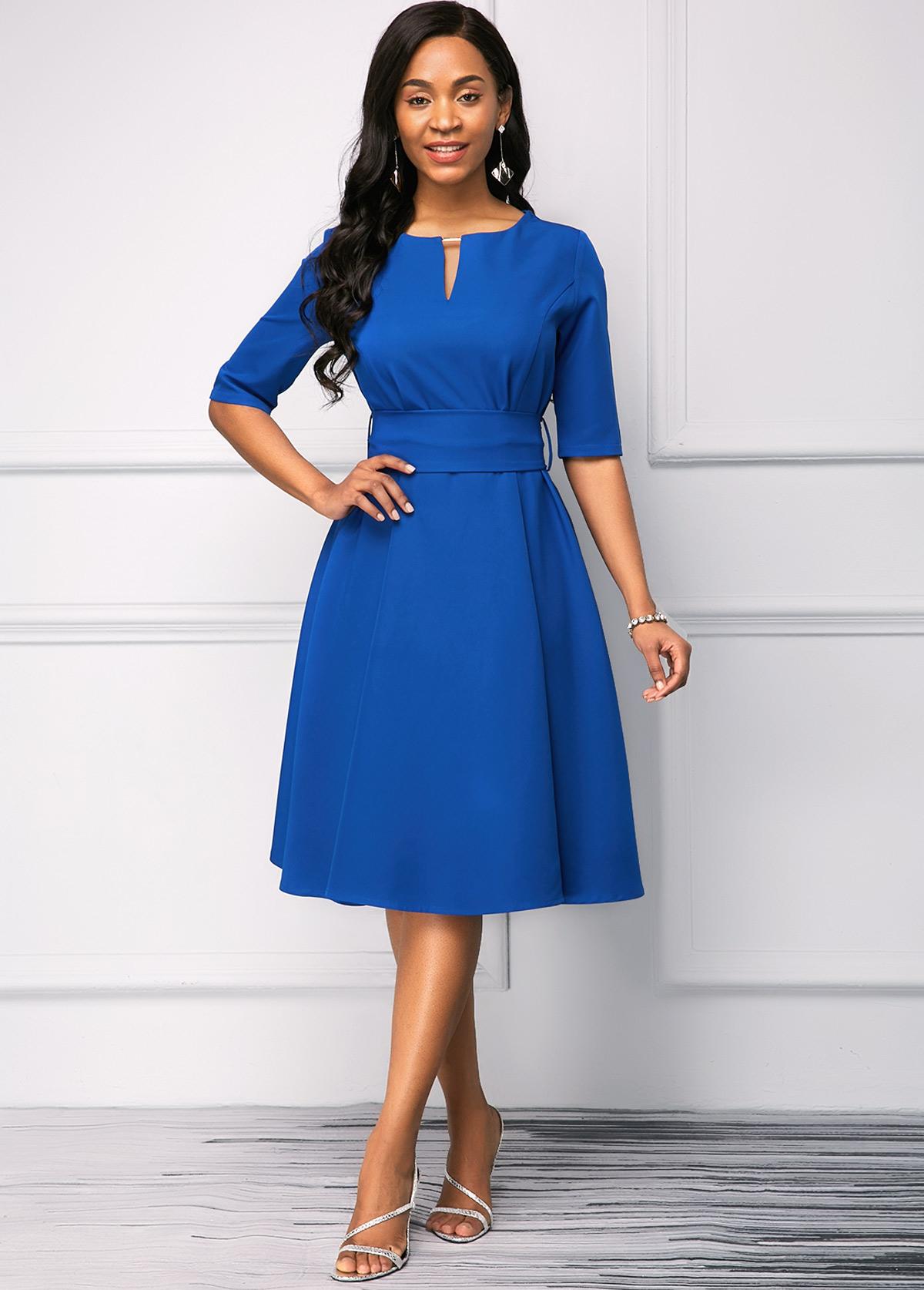 Half Sleeve Royal Blue Split Neck Dress