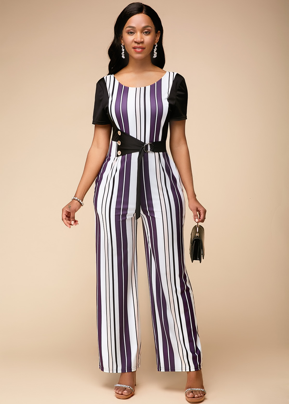 Short Sleeve Stripe Print Round Neck Jumpsuit