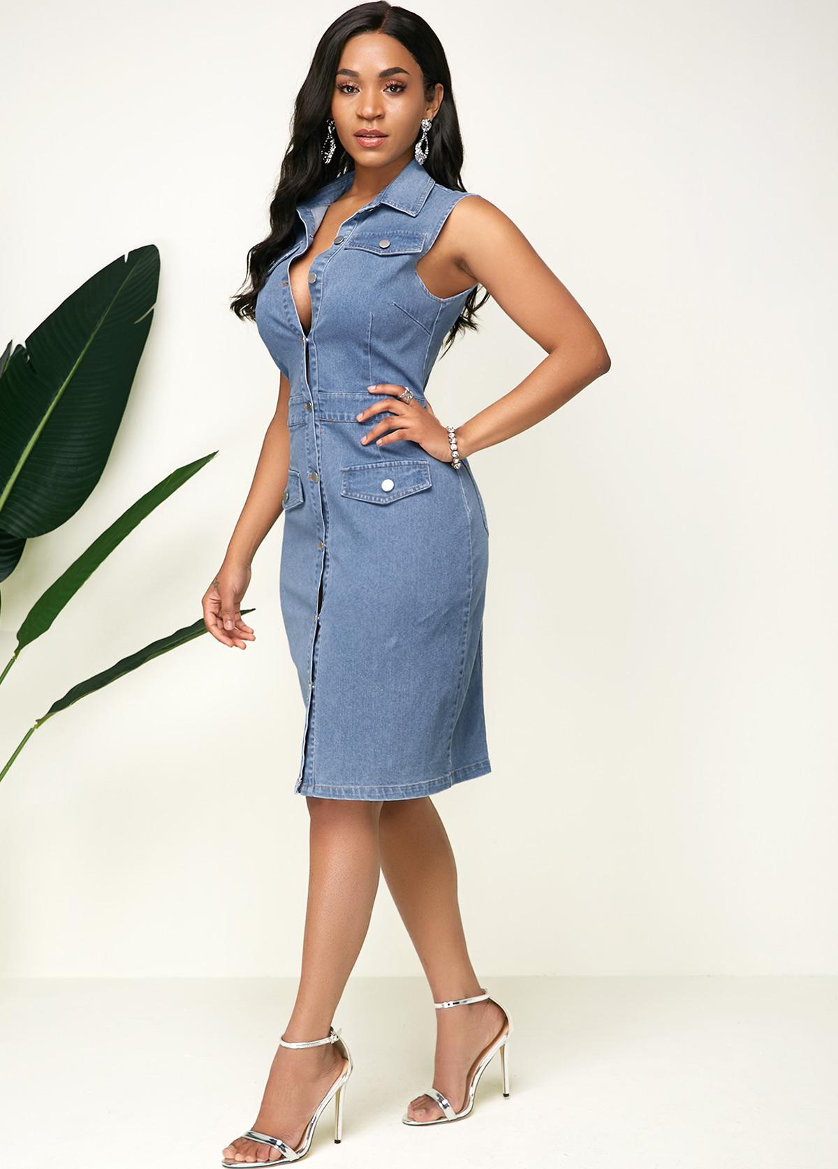 Button Up Sleeveless Turndown Collar Denim Dress