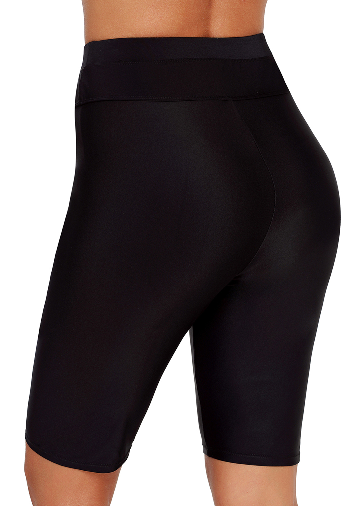 High Waist Black Drawstring Detail Swimwear Shorts
