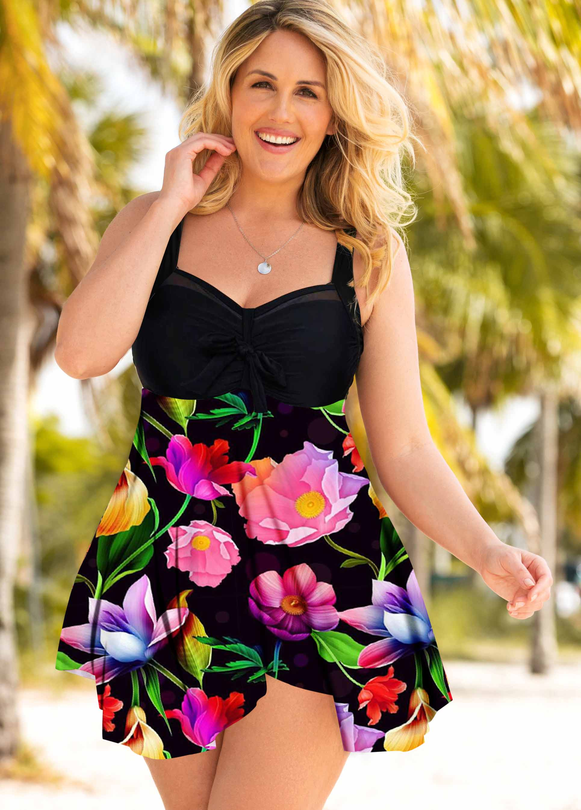 Plus Size Flower Print Wide Strap Swimdres and Panty
