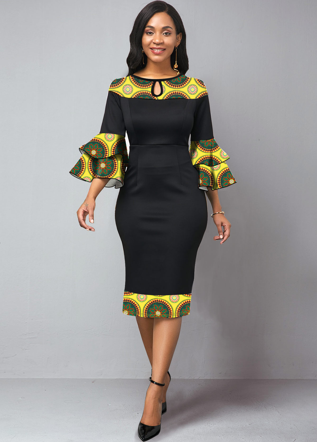 Keyhole Neckline Tribal Print Trumpet Sleeve Dress