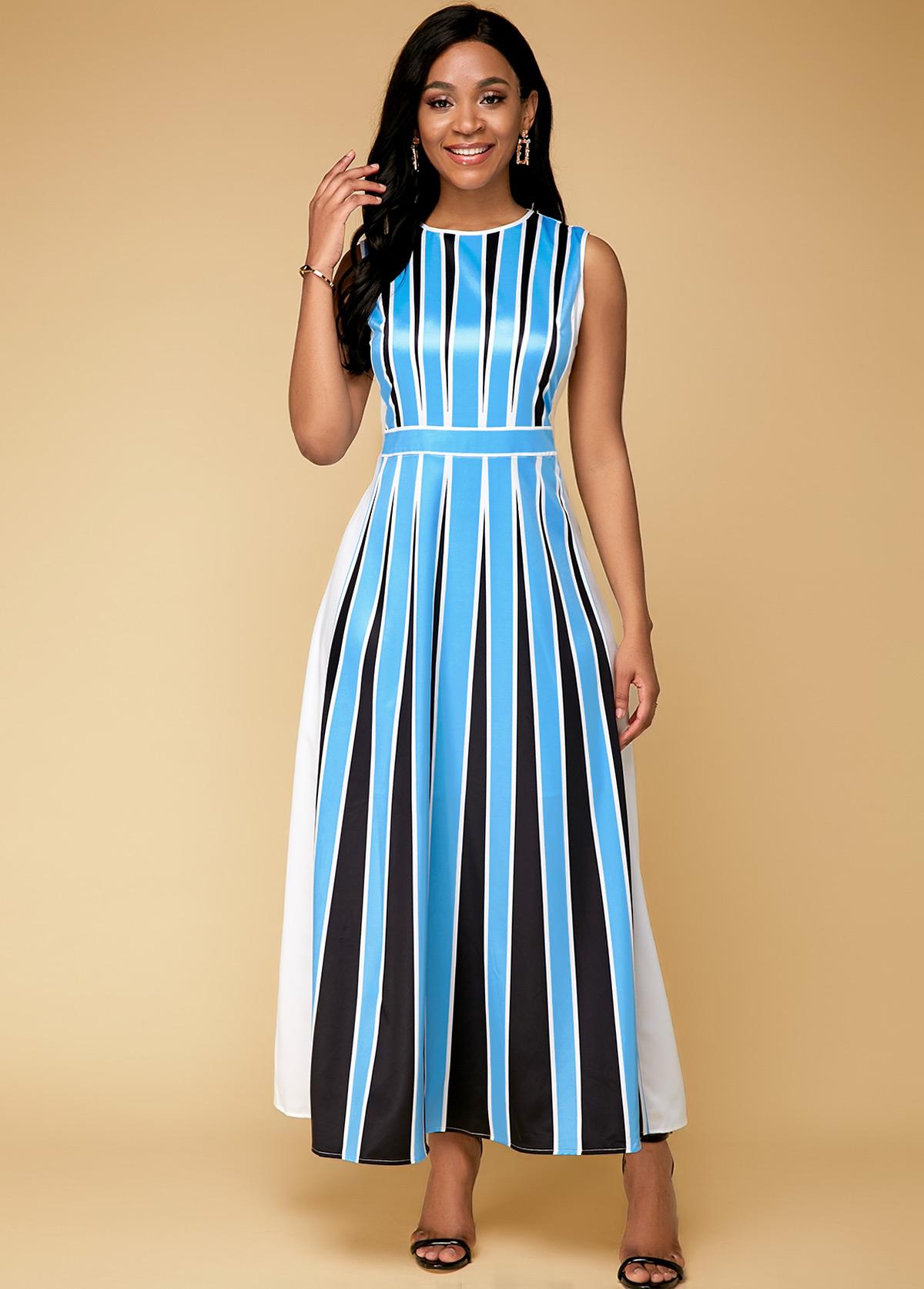 Sleeveless Stripe Print Blue Maxi Dress