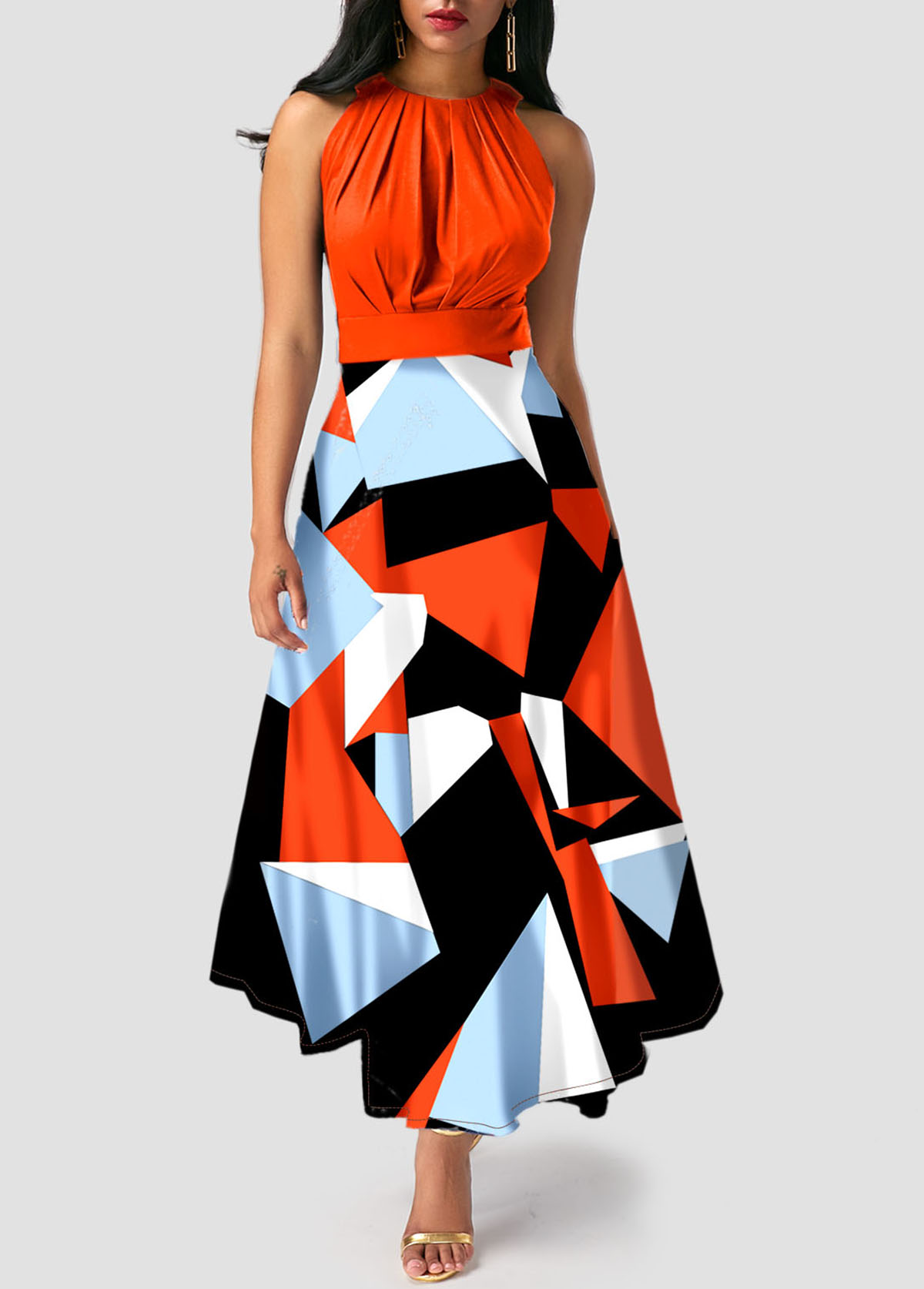 Orange Geometric Print Sleeveless Maxi Dress