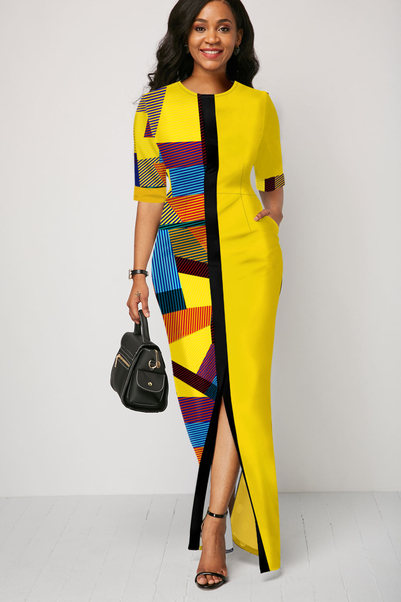 Half Sleeve Geometric Print Yellow Maxi Dress