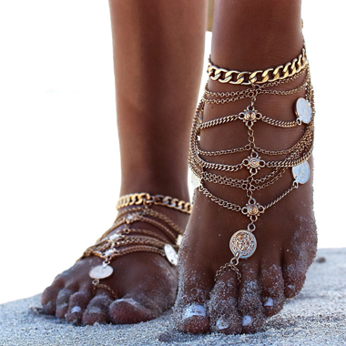 Coin Decoration Sexy Layered Gold Anklet