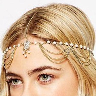 Beads Detail Metal Gold Hair Chain