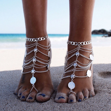 Layered Silver Coin Decoration Anklet for Lady