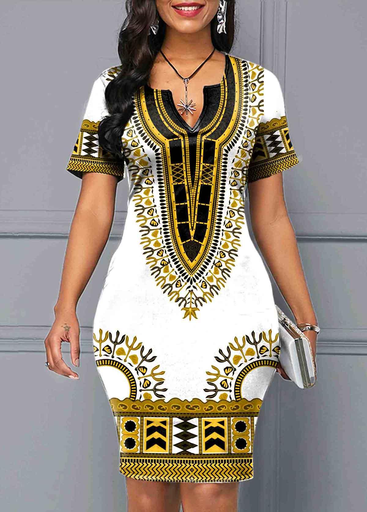 Short Sleeve White Tribal Print Dress