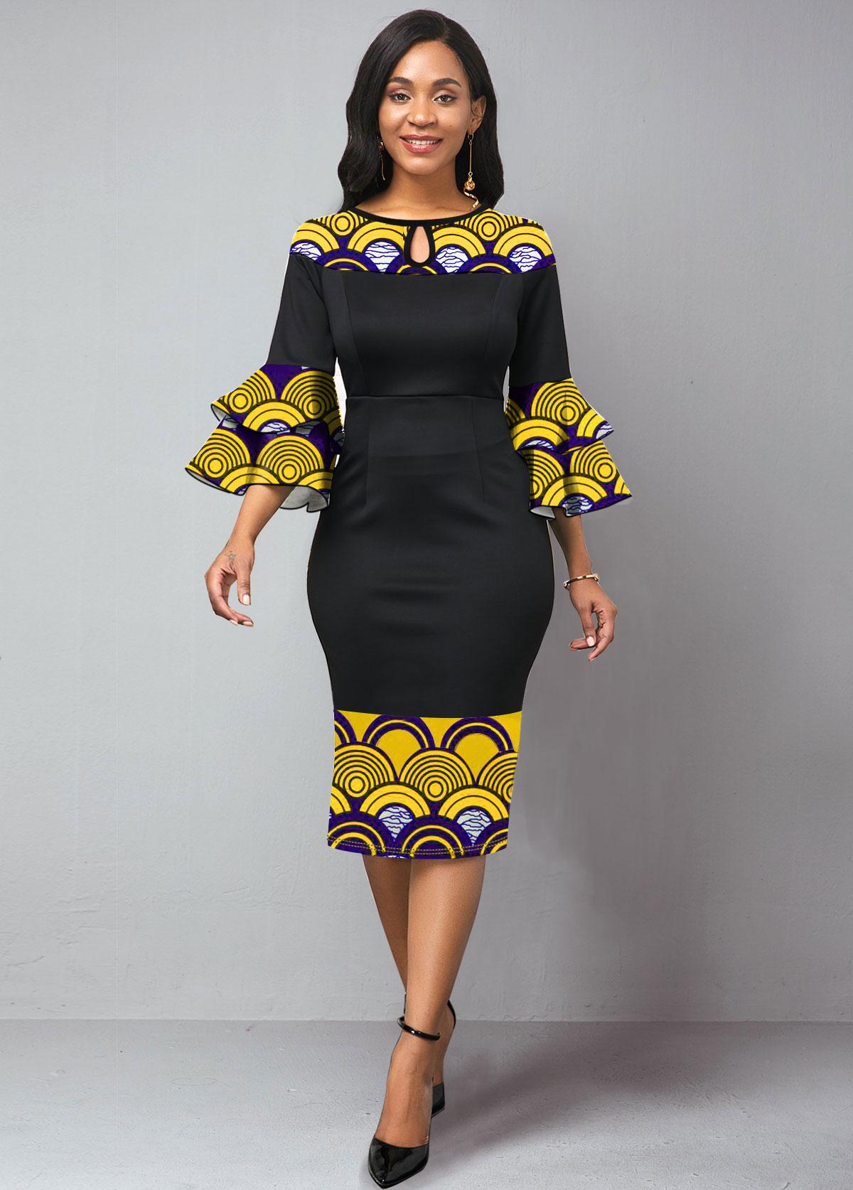Keyhole Neckline Flare Sleeve Tribal Print Dress