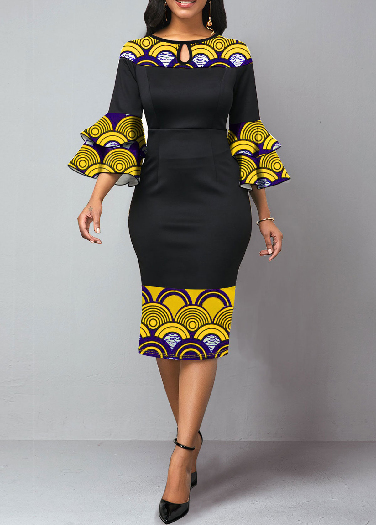 Keyhole Neckline Flare Sleeve Tribal Print Dress