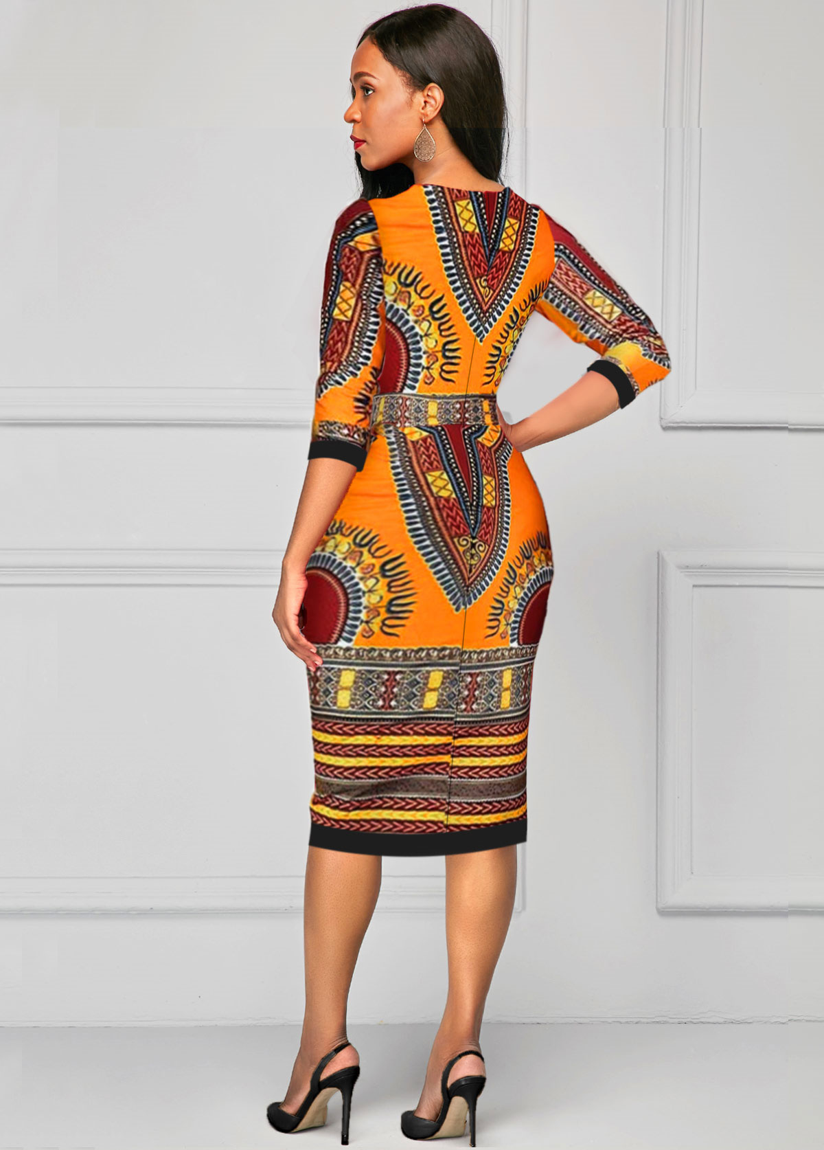 Three Quarter Sleeve V Neck Dashiki Dress