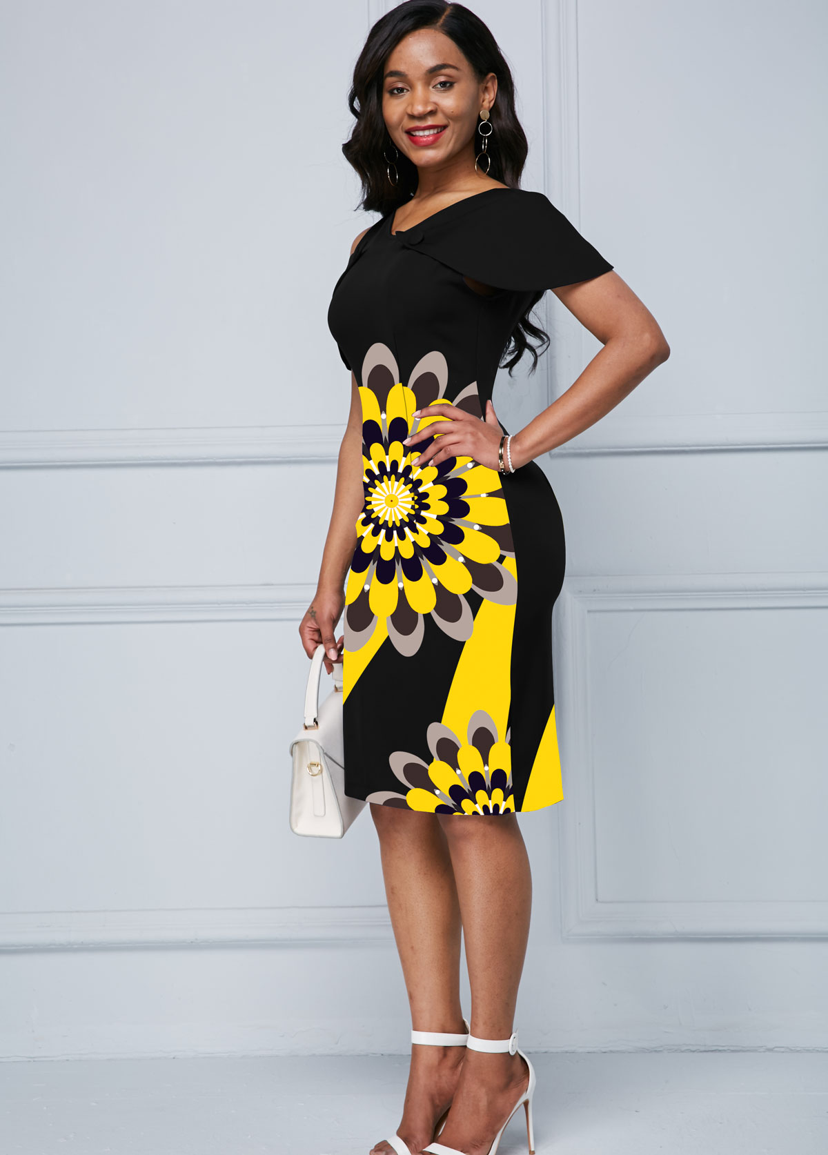 Cold Shoulder Black Flower Print Dress