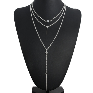 Layered Metal Bar Pendant Silver Necklace for Lady
