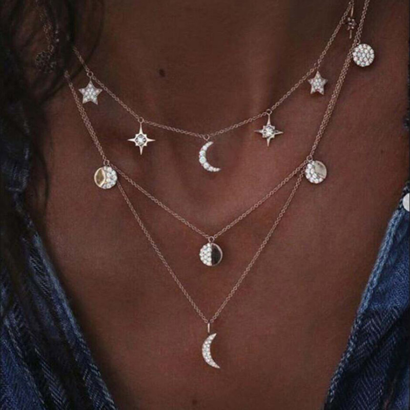 Metal Silver Star and Moon Decorated Necklace