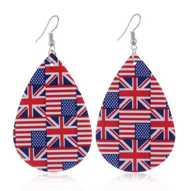 Print Flag Day Color Block Earring Set