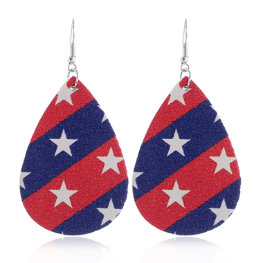 American Flag Print Starry Print Color Block Earring Set