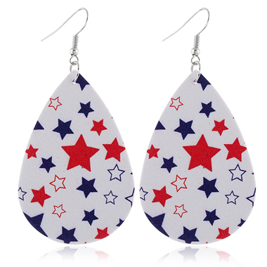 Flag Day Color Block Star Print Earring Set