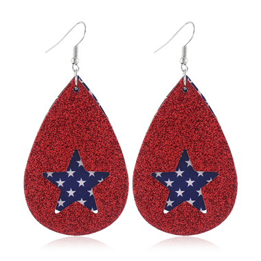 Star Shape Color Block American Flag Print Earrings