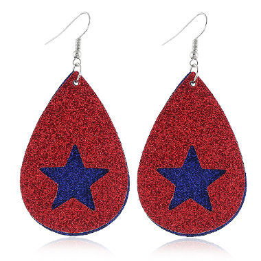 American Flag Print Faux Leater Earrings for Women
