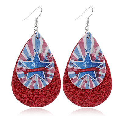 Flag Day Starry American Flag Print Wine Red Earring Set