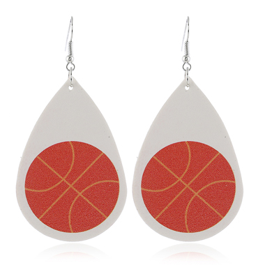 Basketball Print Flag Day White Earring Set