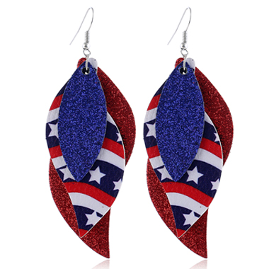 Color Block Layered American Flag Print Earring Set
