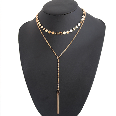 Geometric Metal Necklace Simple For Lady