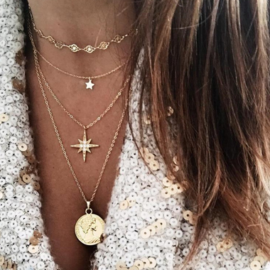 Star Shape Layered Gold Metal Necklace for Lady