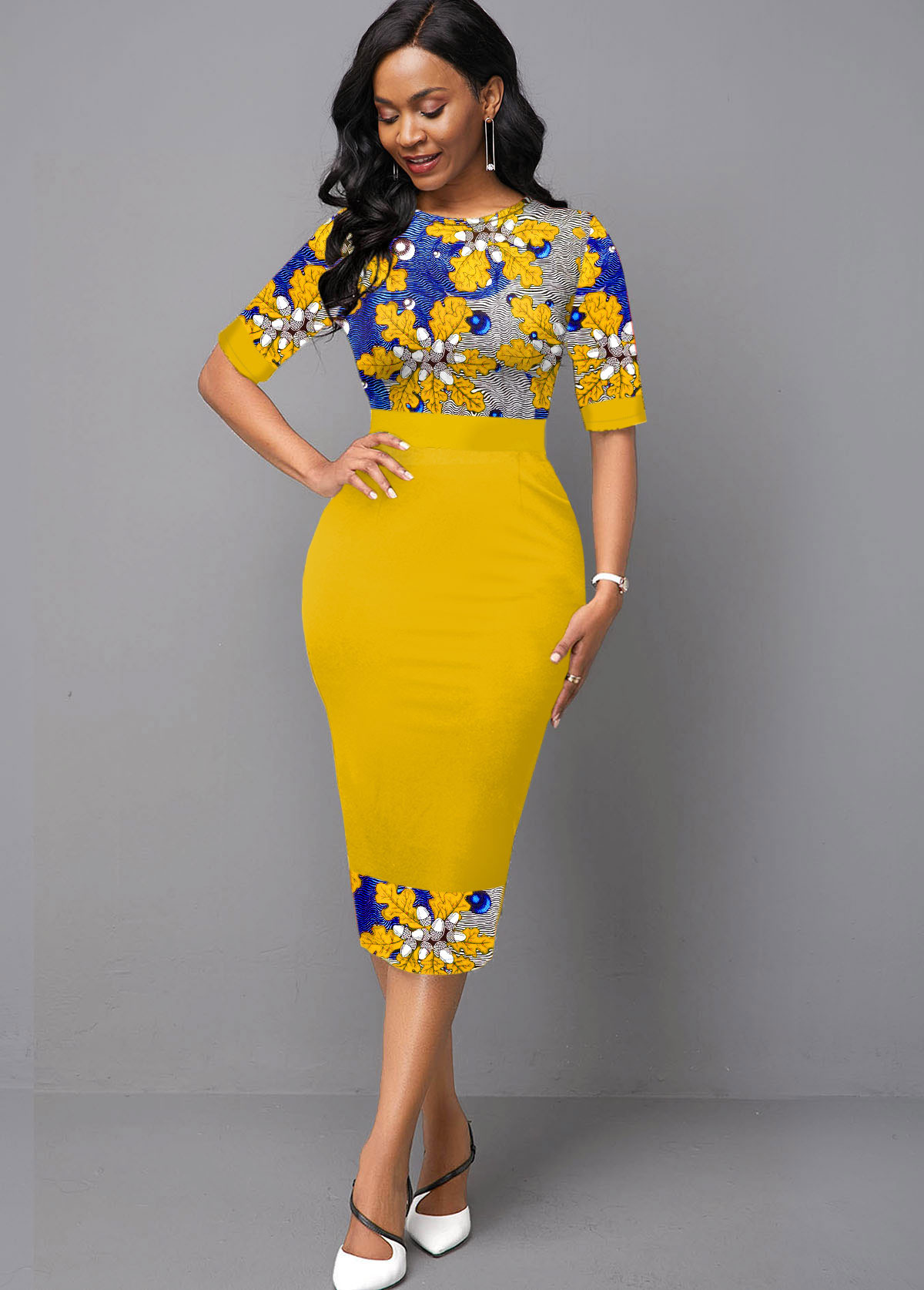 Floral Knitting Half Sleeve Yellow Dress
