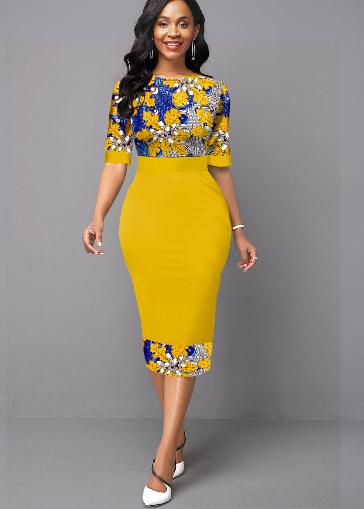 Floral Print Half Sleeve High Waist Dress