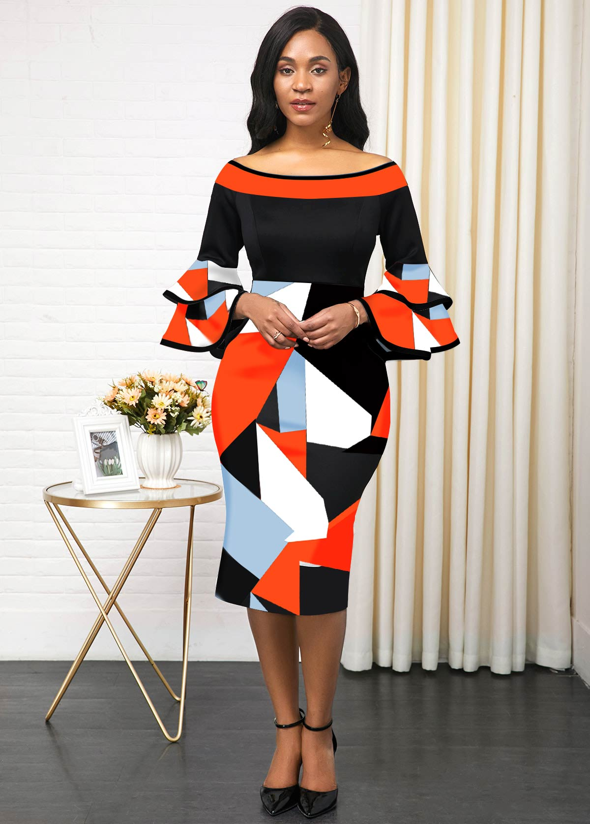 Flare Sleeve Print Color Block Dress