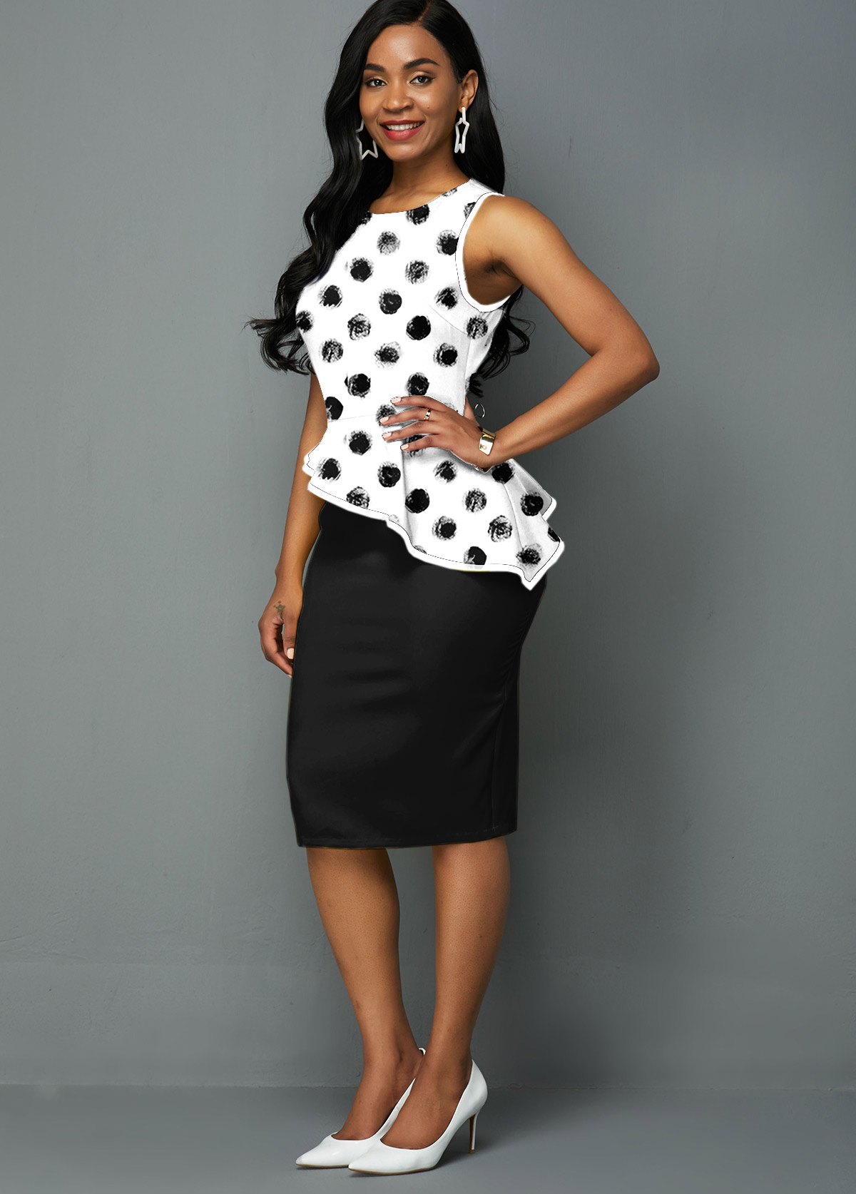 Sleeveless Polka Dot Print Asymmetric Hem Dress