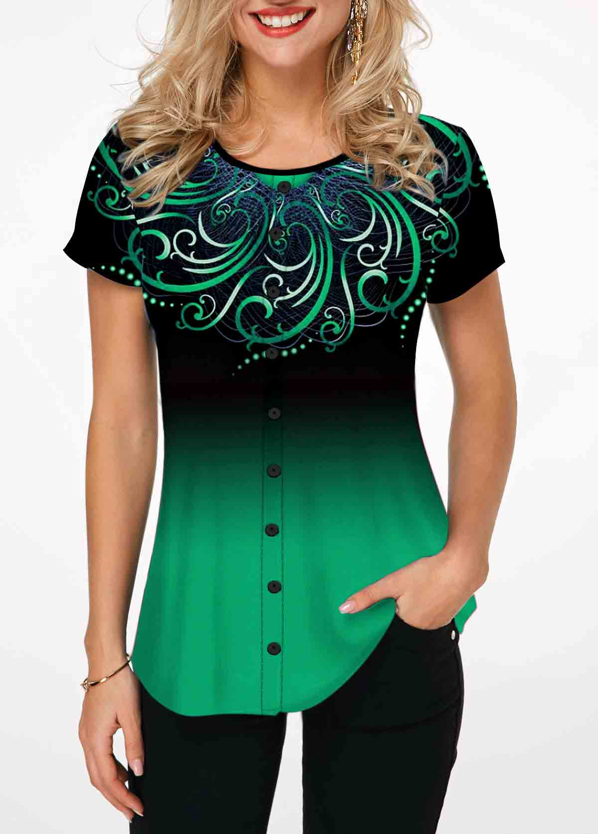 Tribal Print Green Round Neck T Shirt