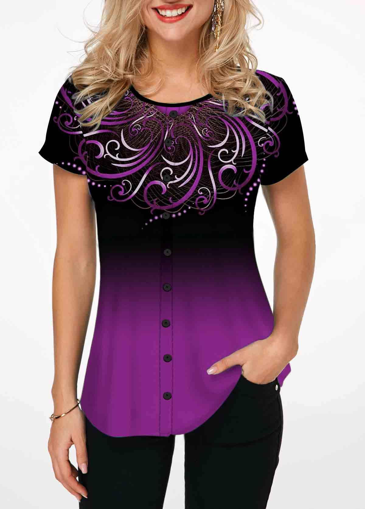 Purple Tribal Print Short Sleeve T Shirt