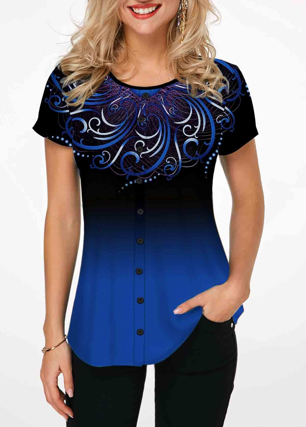 Gradient Blue Tribal Print Short Sleeve T Shirt