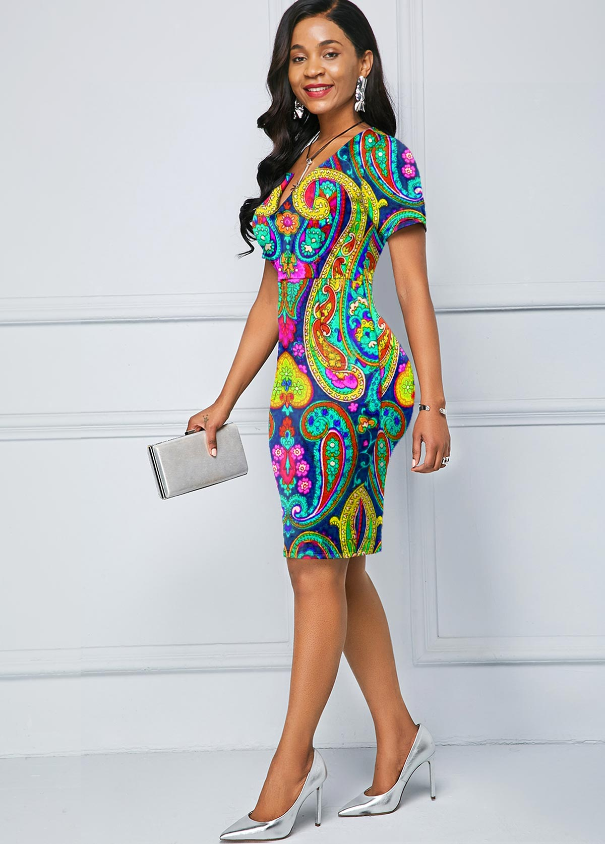 Split Neck Paisley Print Short Sleeve Dress