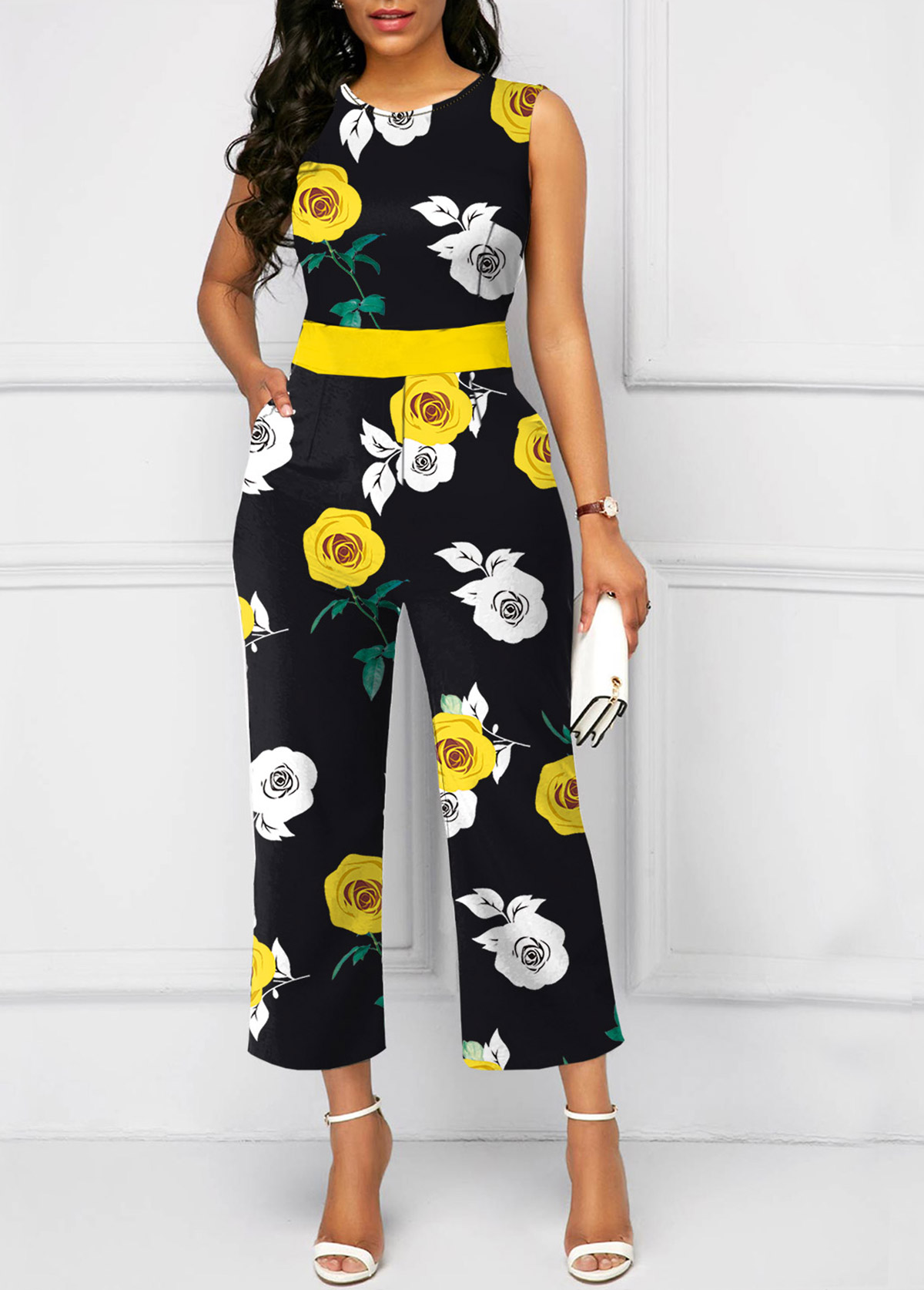 Round Neck Flower Print Sleeveless Yellow Jumpsuit