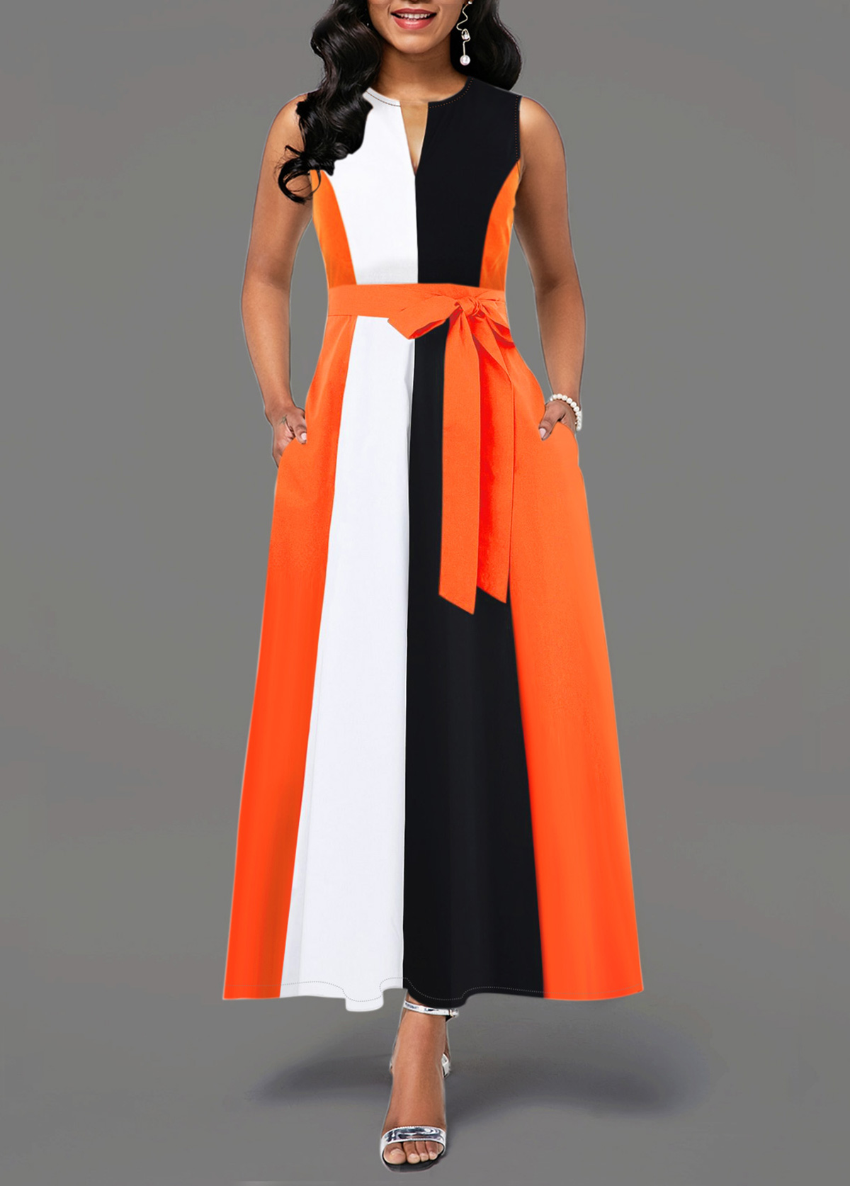 Sleeveless Split Neck Color Block Dress