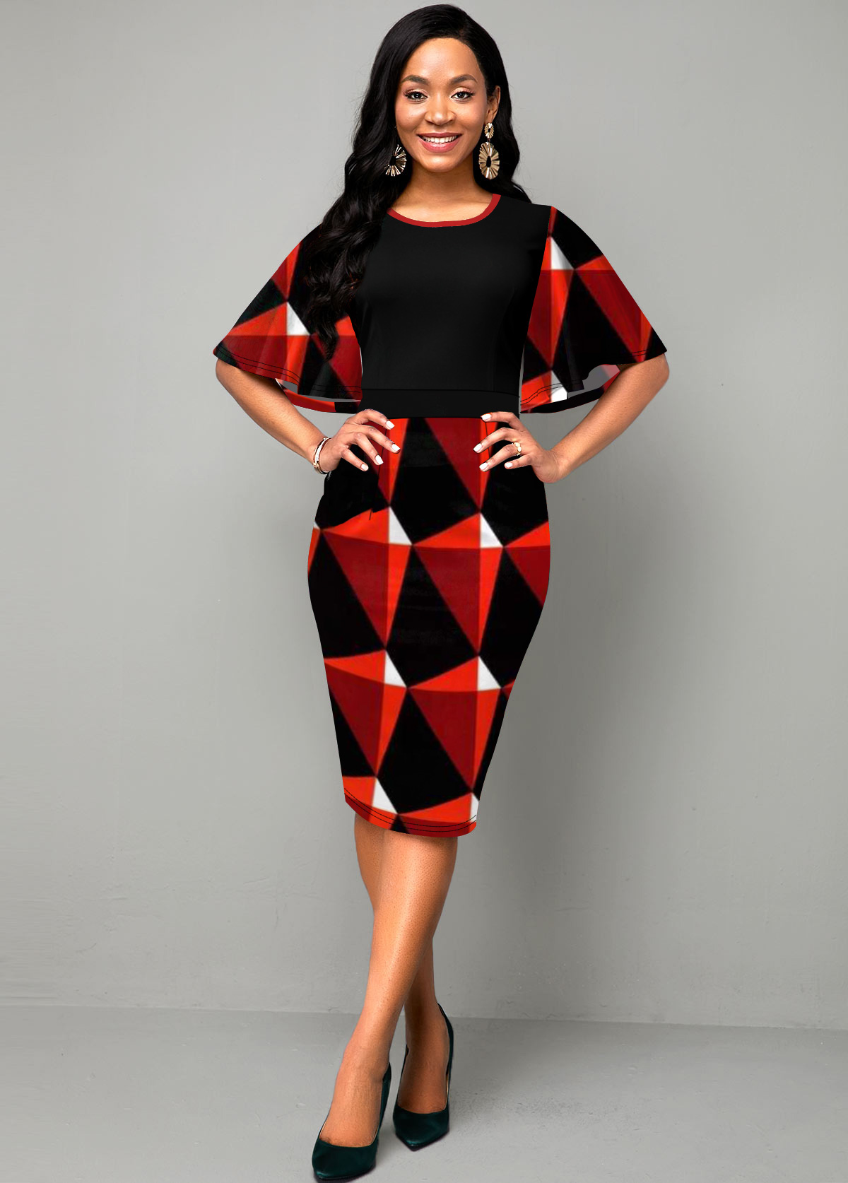 Round Neck Geometric Print Ruffle Overlay Dress