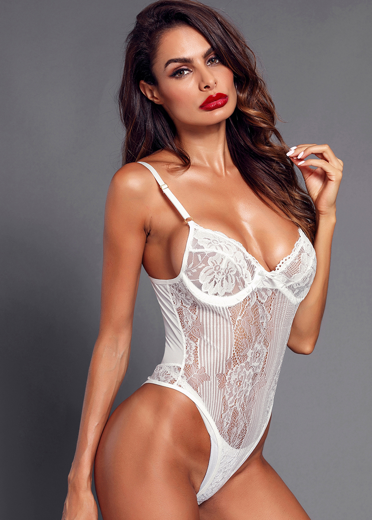White Lace Panel Spaghetti Strap Bodysuit