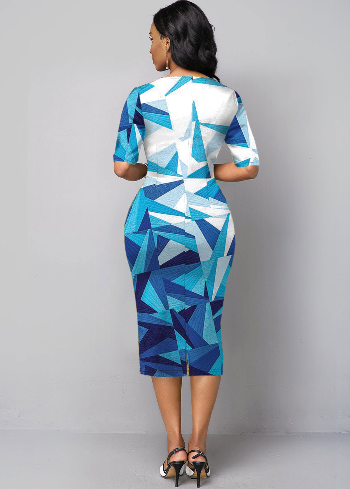 Blue Geometric Print Half Sleeve Dress