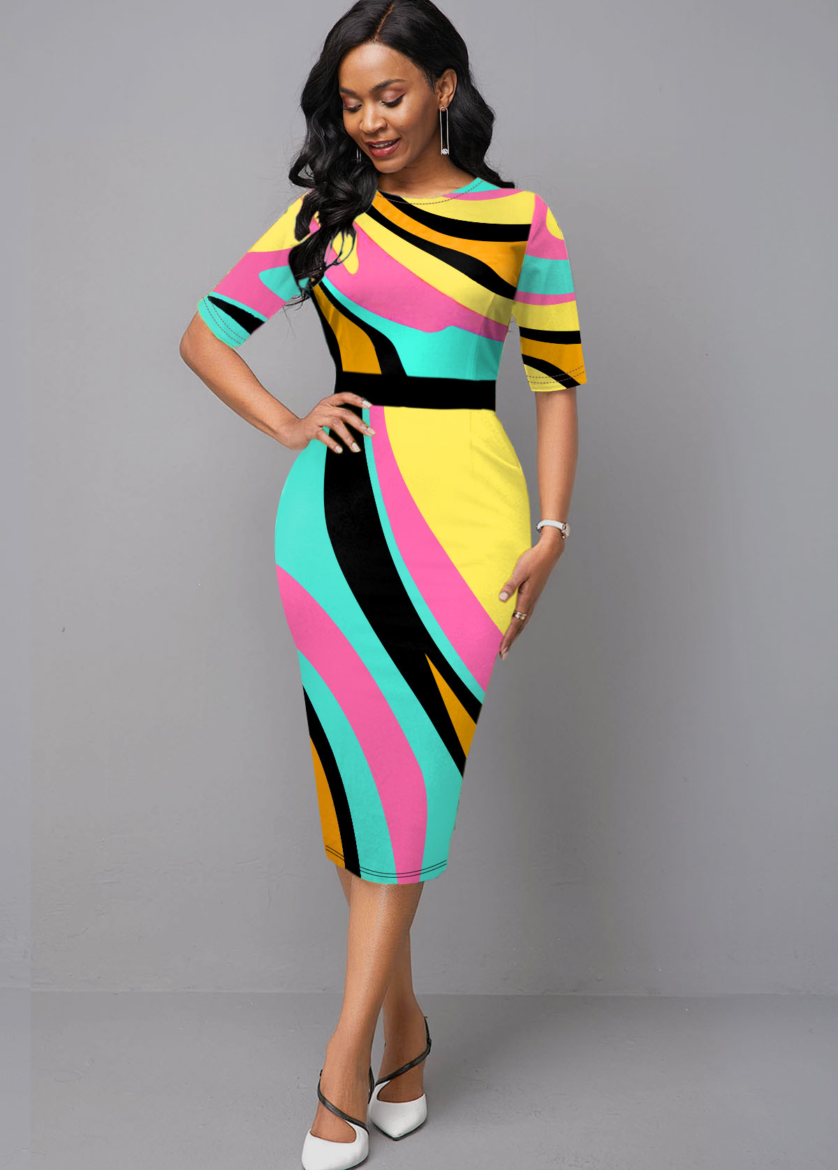 Half Sleeve Round Neck Geometric Print Dress
