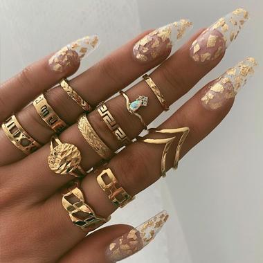 Gold Metal Material Rings for Women