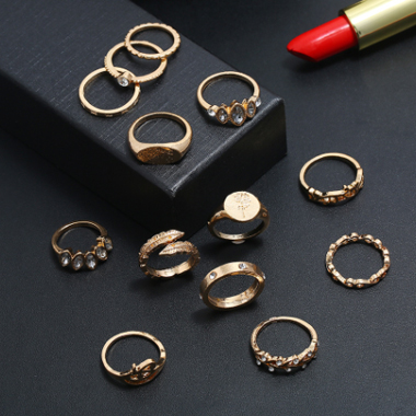 Metal Rose Plant Shapes 13pcs Rings for Lady