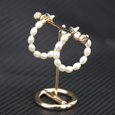 Faux Pearl Decorated Beige Earring Set